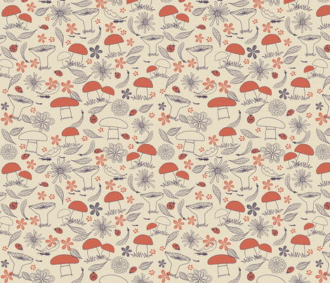 doodle mushrooms fabric by anastasiia-ku on Spoonflower - custom fabric