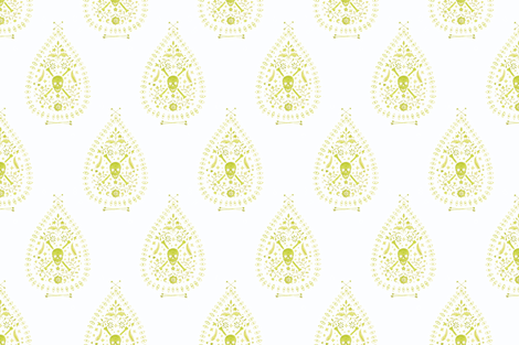 Large Paisley is Dead in Citron fabric by danika_herrick on Spoonflower - custom fabric