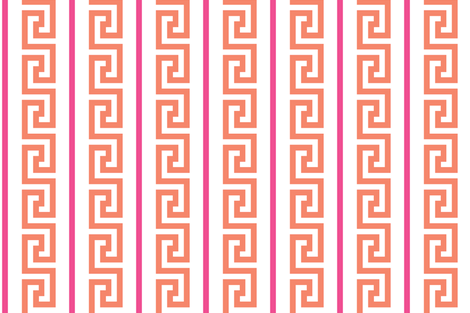 greek_key_strip orange/pink fabric by danikaherrick on Spoonflower - custom fabric