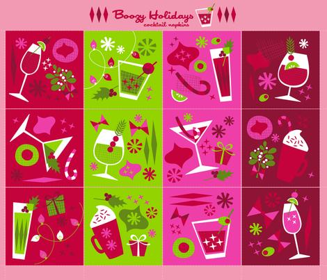 Boozy Holidays Cocktail Napkin Set fabric by allisonbeilkedesigns on Spoonflower - custom fabric