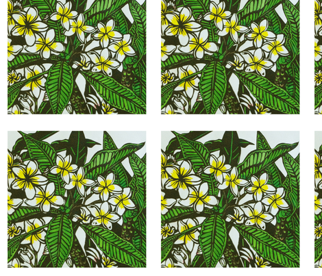 Frangipani Print for Napkins (c)indigodaze2012 fabric by indigodaze on Spoonflower - custom fabric