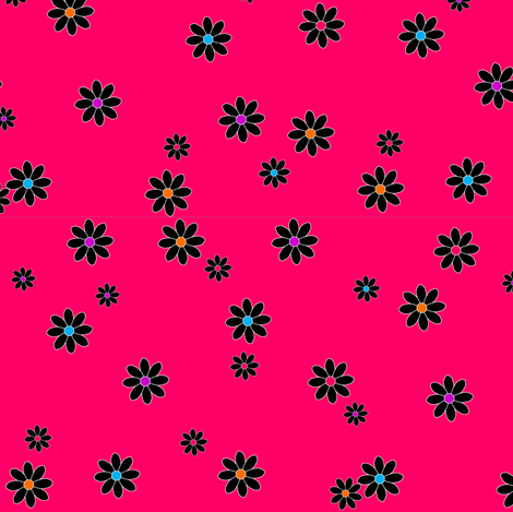 Buzz Bee Pink Flowers fabric by enf on Spoonflower - custom fabric