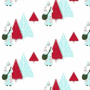 Santa and the Christmas trees