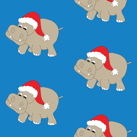 Santa Hippo Blue Background fabric by coveredbydesign on Spoonflower - custom fabric