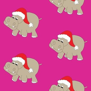 Santa Hippo Pink Background