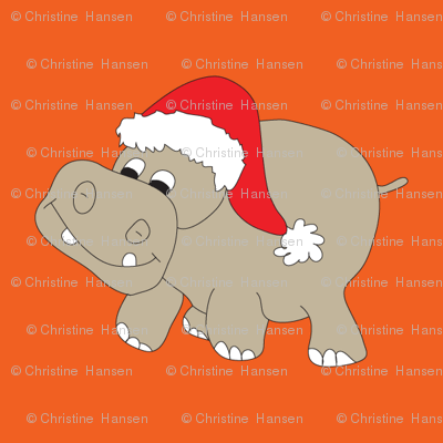 Santa Hippo Orange Background