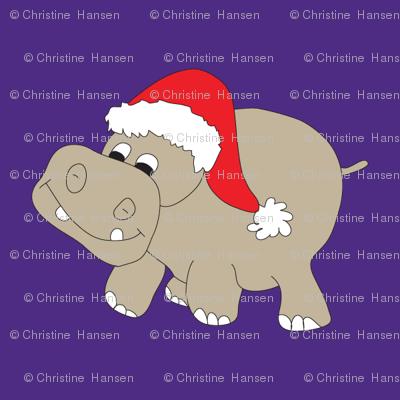 Santa Hippo Purple Background