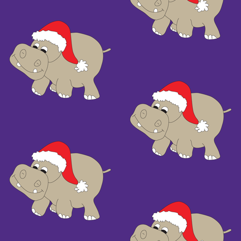 Santa Hippo Purple Background fabric by coveredbydesign on Spoonflower - custom fabric
