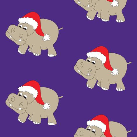 Santa Hippo Purple Background fabric by coveredbydesign on Spoonflower - custom fabric
