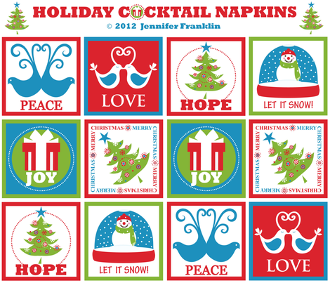 Holiday Cocktail Napkins fabric by jenniferfranklin on Spoonflower - custom fabric