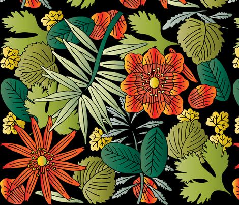 Botanic - Night fabric by owlandchickadee on Spoonflower - custom fabric