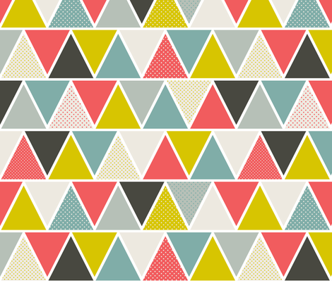 Triangulum - Modern Geometric Red Yellow Blue fabric by heatherdutton on Spoonflower - custom fabric