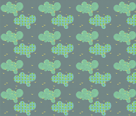 Birds in the rain fabric by sary on Spoonflower - custom fabric
