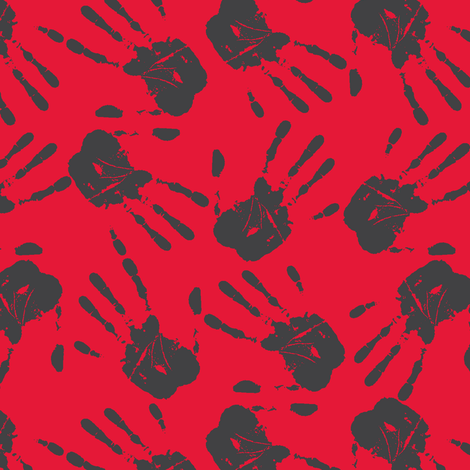 hands all over white red-ch fabric by susiprint on Spoonflower - custom fabric