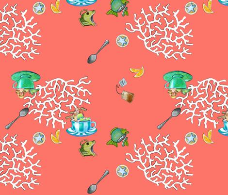 Mermaid Tea - coral fabric by golders on Spoonflower - custom fabric