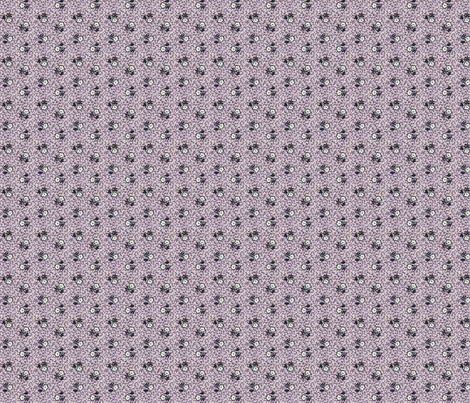 Purple, Black & White Flowers faded  fabric by the_cornish_crone on Spoonflower - custom fabric