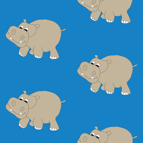 Hippo-Blue fabric by coveredbydesign on Spoonflower - custom fabric
