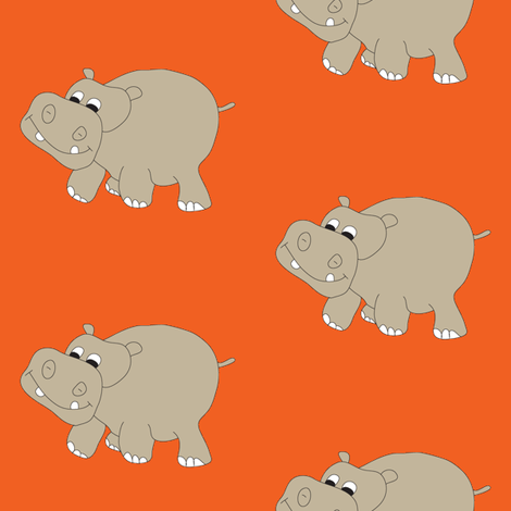 Hippo-Orange fabric by coveredbydesign on Spoonflower - custom fabric