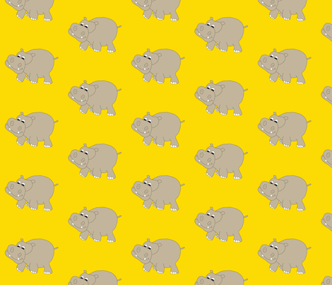 Hippo-Yellow fabric by coveredbydesign on Spoonflower - custom fabric