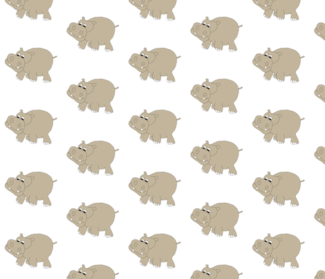 Hippo-White fabric by coveredbydesign on Spoonflower - custom fabric