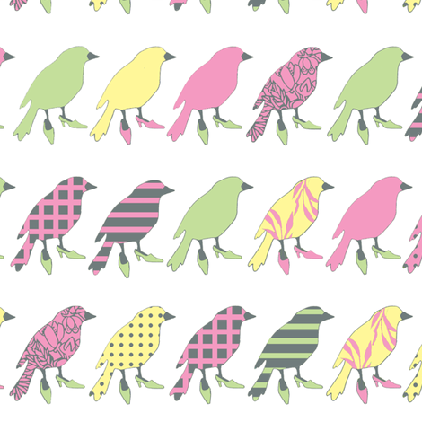 birdline pink variation fabric by golders on Spoonflower - custom fabric