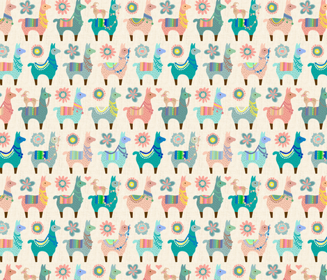 Llama Fun - Medium fabric by mariafaithgarcia on Spoonflower - custom fabric