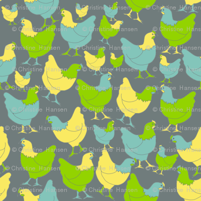 Scattered Hens on Grey
