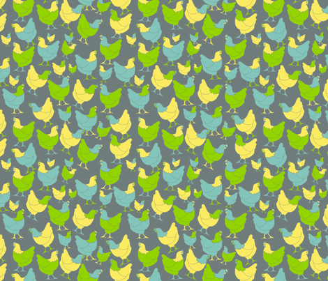 Scattered Hens on Grey fabric by coveredbydesign on Spoonflower - custom fabric