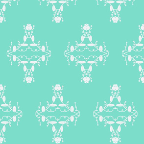 Turquoise and White Damask