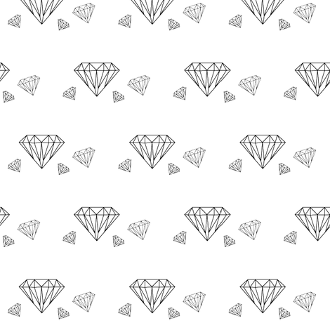 Diamonds are forever - black on white fabric by little_fish on Spoonflower - custom fabric