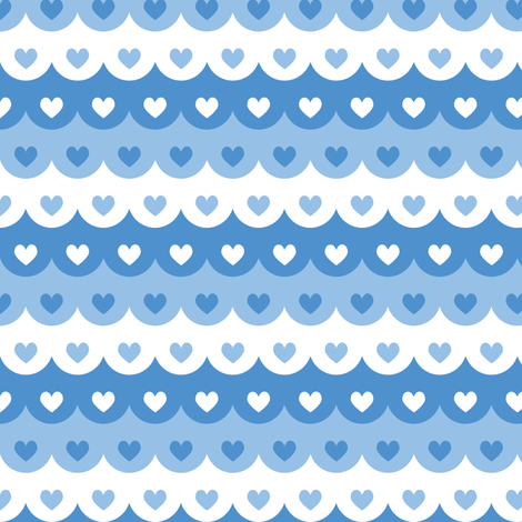 Hearts scallops (blue) fabric by petitspixels on Spoonflower - custom fabric