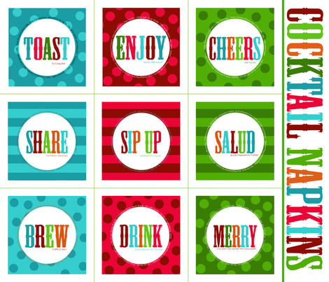 Merry Cocktail Napkins fabric by natitys on Spoonflower - custom fabric