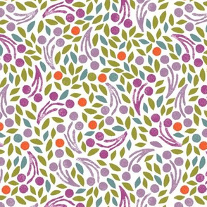 Leaves and Sprigs Scatter Stamp Repeat - bright colorway