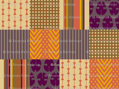 "Menswear Patchwork 5"" Squares - Harvest Color Cocktail Napkins"