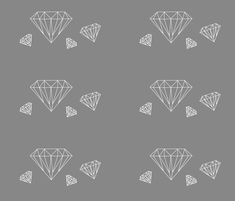 Diamonds are forever - white on grey - large fabric by little_fish on Spoonflower - custom fabric