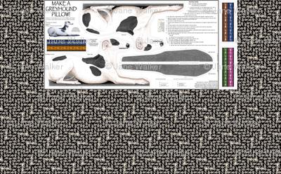 Greyhound Pillow Panel - Black Spots Male