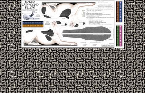 Greyhound Pillow Panel - Black Spots Male fabric by artbyjanewalker on Spoonflower - custom fabric