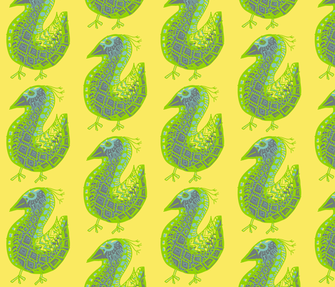Pattern Bird, gray on yellow fabric by kcs on Spoonflower - custom fabric