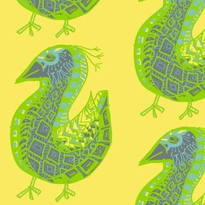Pattern Bird, gray on yellow