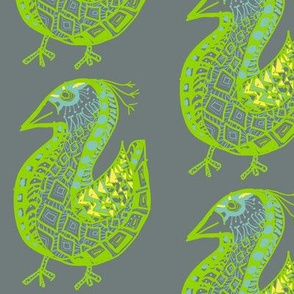 Pattern Bird, gray on gray