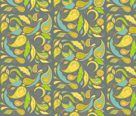 fancy_paisley-gr fabric by kerryn on Spoonflower - custom fabric