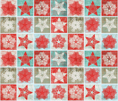 Starflakes - Poinsettia-Ice-Linen fabric by owlandchickadee on Spoonflower - custom fabric