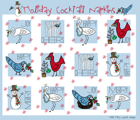 Cheers! (Holiday Cocktail Napkin Set) fabric by pattyryboltdesigns on Spoonflower - custom fabric