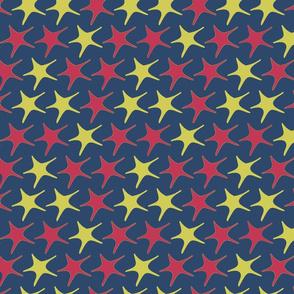 star print three colour-blue