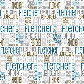 Personalised Name Fabric - Blue Greys Brown