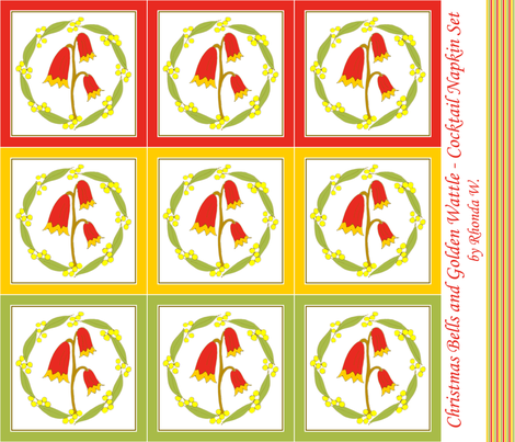 Christmas Bells and Golden Wattle - Cocktail Napkin Set fabric by rhondadesigns on Spoonflower - custom fabric