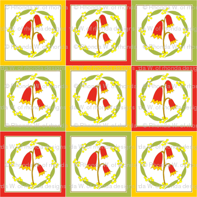 Christmas Bells and Golden Wattle -  Quilt  (Natural Heathland Colours)