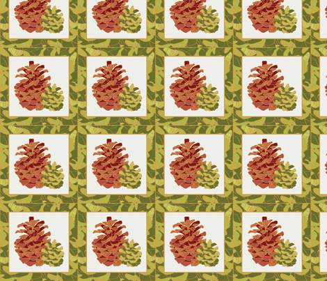 Pine Cone Cocktail Napkin fabric by laurarae on Spoonflower - custom fabric