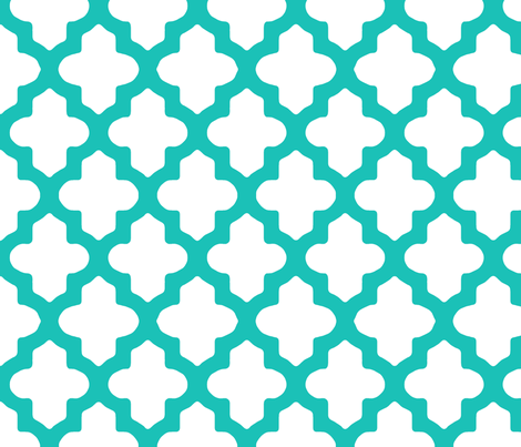Moroccan Quatrefoil in Turquoise fabric by fridabarlow on Spoonflower - custom fabric