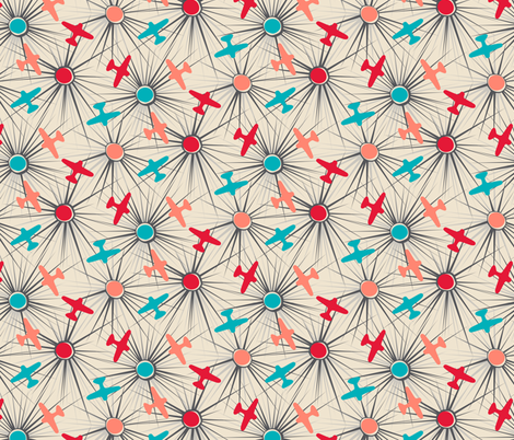 Flightpath - Peachy fabric by tuppencehapenny on Spoonflower - custom fabric